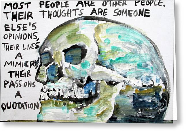 Wilde Greeting Cards - SKULL quoting OSCAR WILDE.10 Greeting Card by Fabrizio Cassetta