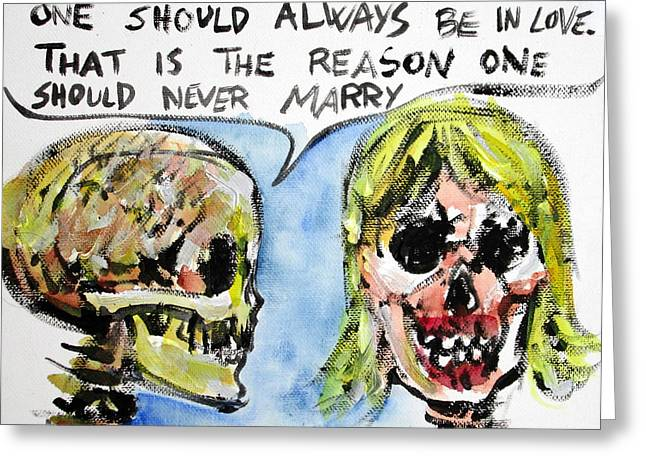Skull Quoting Oscar Wilde.5 Greeting Card by Fabrizio Cassetta