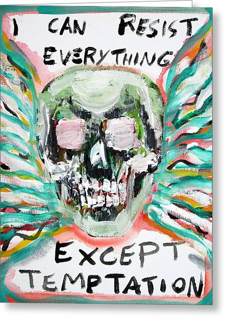 Wilde Greeting Cards - SKULL quoting OSCAR WILDE.7 Greeting Card by Fabrizio Cassetta