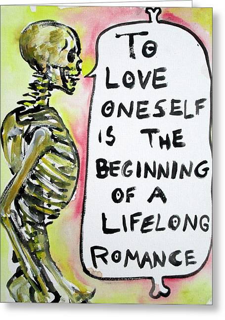 Wilde Greeting Cards - SKULL quoting OSCAR WILDE.9 Greeting Card by Fabrizio Cassetta