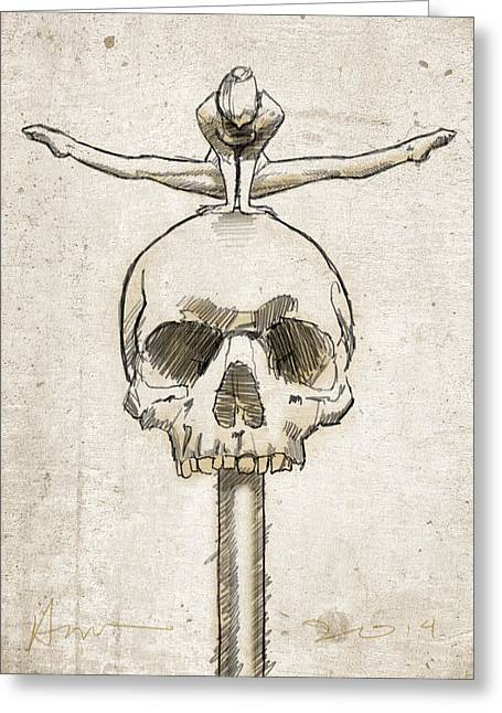 Split Drawings Greeting Cards - Skull Splits Greeting Card by H James Hoff