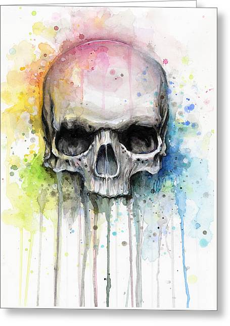 Skull Watercolor Painting Greeting Card by Olga Shvartsur