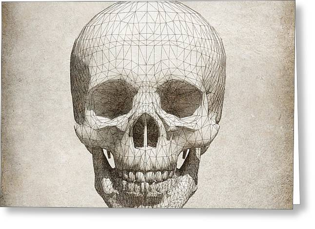 Skull Wireframe On Paper.  Greeting Card by Thanes