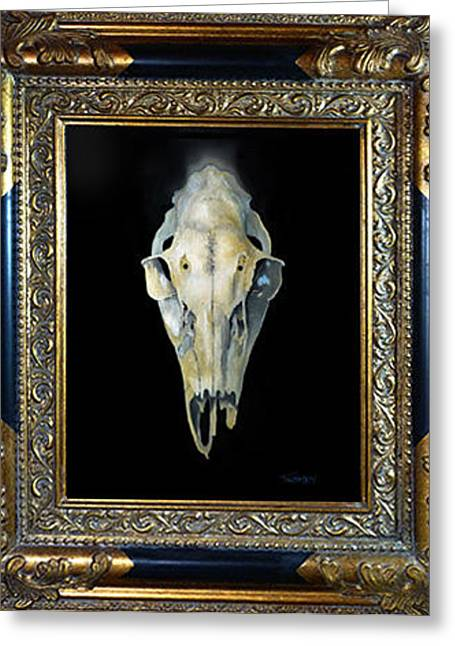 Sacrificial Paintings Greeting Cards - Skull With Aura Framed Greeting Card by Catherine Twomey