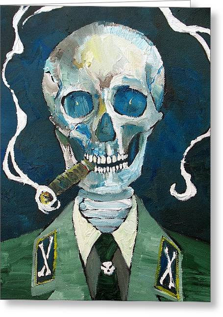 Mandible Greeting Cards - SKULL with CIGAR Greeting Card by Fabrizio Cassetta