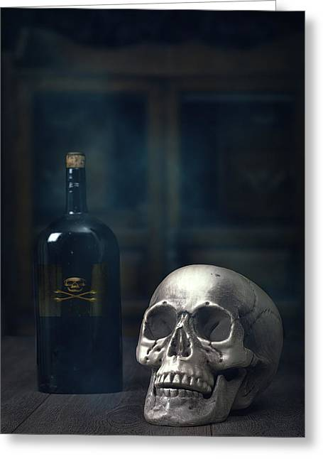 Crossbones Greeting Cards - Skull With Poison Bottle Greeting Card by Amanda And Christopher Elwell