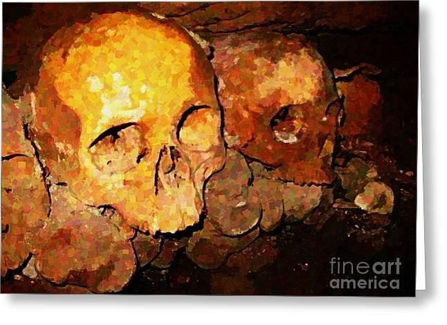 Creepy Digital Greeting Cards - Skulls in the Paris Catacombs Greeting Card by John Malone