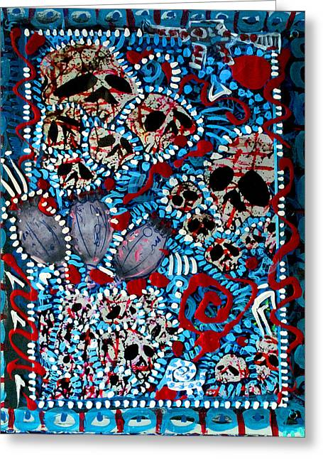 Treatment Mixed Media Greeting Cards - Skullz and Poppy  Greeting Card by Josh Brown