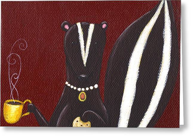 Burgundy Greeting Cards - Skunk with Coffee Greeting Card by Christy Beckwith