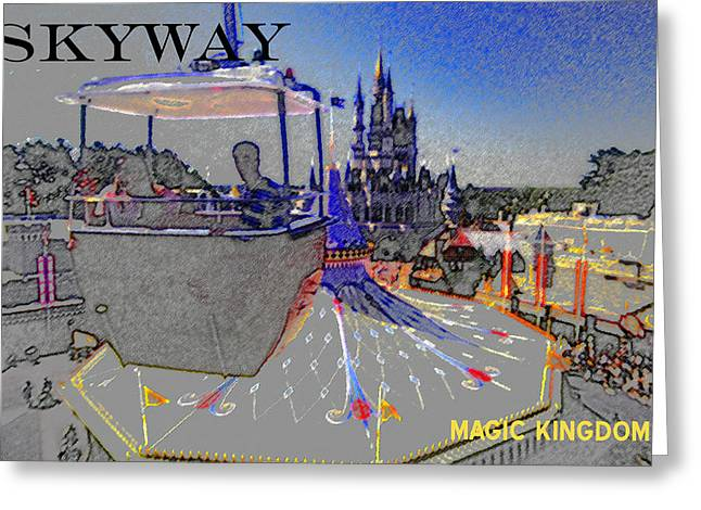 Dismantled Greeting Cards - Skway Magic Kingdom Greeting Card by David Lee Thompson
