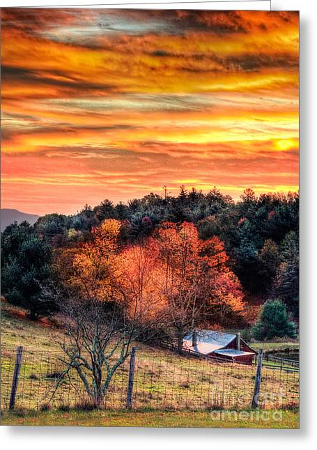 Pasture Framed Prints Greeting Cards - Sky Ablaze - Blue Ridge Sunrise I Greeting Card by Dan Carmichael
