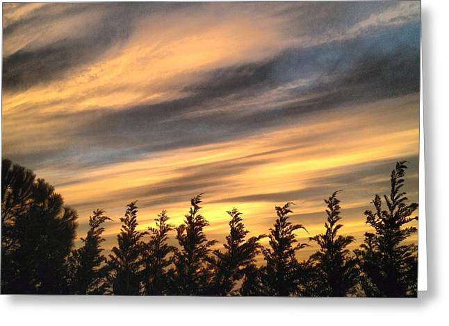Moody Pyrography Greeting Cards - Sky after sunset Greeting Card by Shadi Moukahal