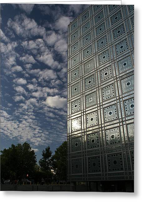 Mechanism Photographs Greeting Cards - Sky and building Greeting Card by Gary Eason