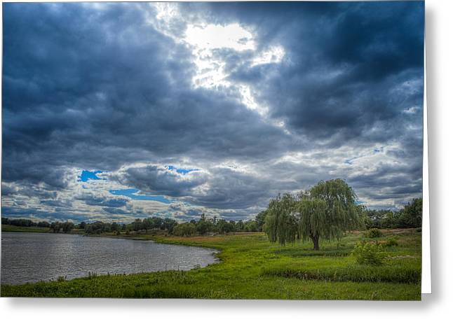 Recently Sold -  - Willow Lake Greeting Cards - Sky and Earth Greeting Card by Leo Thomas Garcia