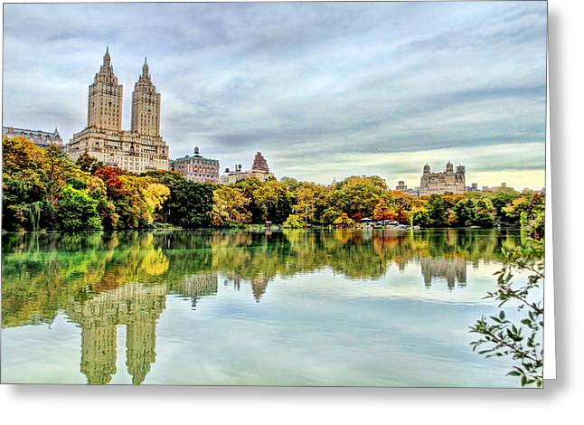 City Scapes Greeting Cards Greeting Cards - Sky And Reflections On Central Park Lake Greeting Card by Geraldine Scull