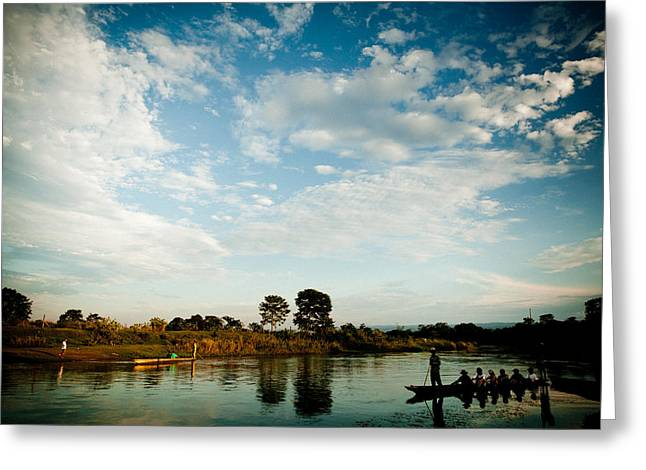 Sky And River Wuth Boat Greeting Card by Raimond Klavins