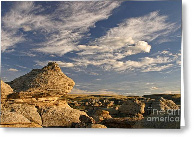 Dinosaur Provincial Park Greeting Cards - Sky and Rocks Greeting Card by Inge Riis McDonald