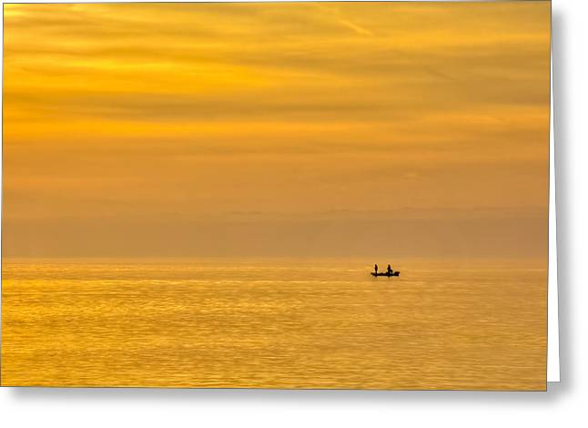 Calm Waters Greeting Cards - Sky and Water Greeting Card by Marvin Spates