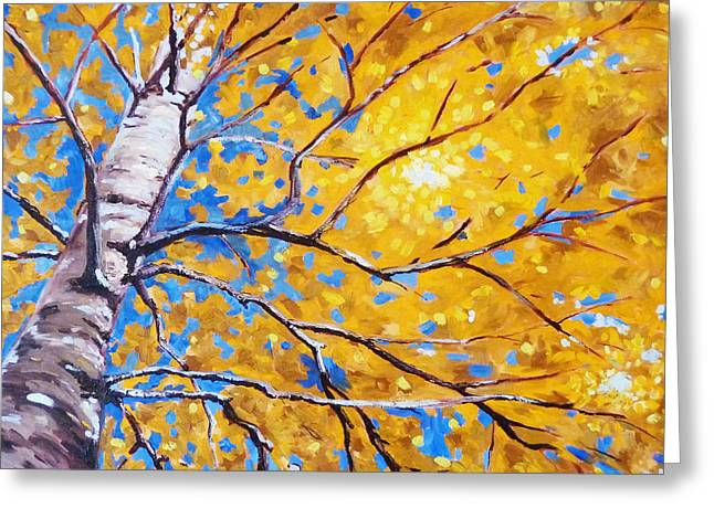 Abstract Expressionist Greeting Cards - Sky Birch Greeting Card by Nancy Merkle