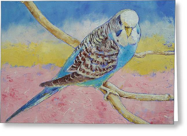 Parakeet Paintings Greeting Cards - Sky Blue Budgie Greeting Card by Michael Creese