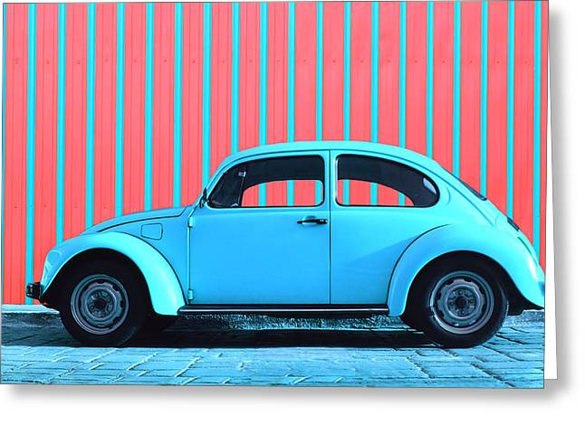 Vw Beetle Greeting Cards - Sky Blue Bug Greeting Card by Laura  Fasulo
