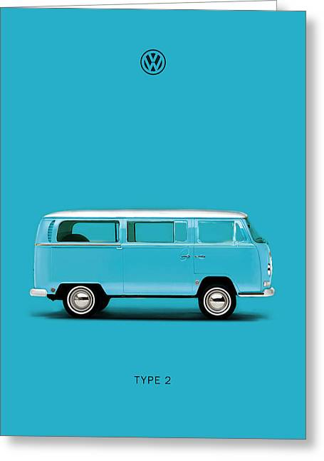 Volkswagen Greeting Cards - Sky Blue Type 2 Greeting Card by Mark Rogan