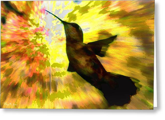 Ruby Throated Hummingbird Wall Art Greeting Cards - Hummingbird - Surreal - Sky-Bound Silhouette Greeting Card by Barry Jones