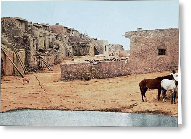 Native American Theme Greeting Cards - Sky City Acoma Pueblo Greeting Card by William Henry Jackson