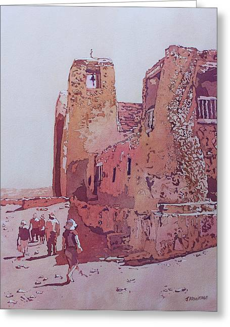 Pueblo Greeting Cards - Sky City Mission Greeting Card by Jenny Armitage