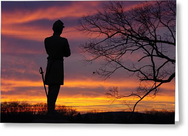 Sky Fire - 124th Ny Infantry Orange Blossoms-1a Sickles Ave Devils Den Sunset Autumn Gettysburg Greeting Card by Michael Mazaika