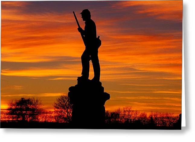 Sky Fire - 128th Pennsylvania Volunteer Infantry A1 Cornfield Avenue Sunset Antietam Greeting Card by Michael Mazaika