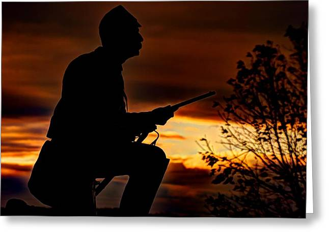 Third Day Of Battle Greeting Cards - Sky Fire - 1st PA Cavalry Regiment-A1 Cemetery Ridge Near Copse of Trees Dawn Autumn Gettysburg Greeting Card by Michael Mazaika