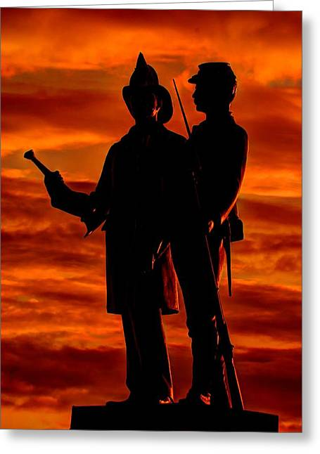 Wounded Warrior Greeting Cards - Sky Fire - 73rd NY Infantry Fourth Excelsior Second Fire Zouaves-B1 Sunrise Autumn Gettysburg Greeting Card by Michael Mazaika