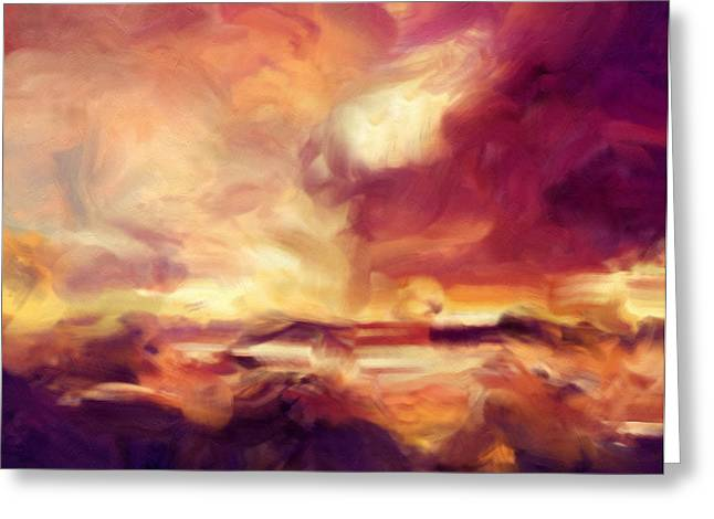 Print On Acrylic Greeting Cards - Sky Fire Abstract Realism Greeting Card by Georgiana Romanovna