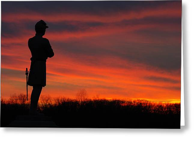 Sky Fire - Aotp 124th Ny Infantry Orange Blossoms-2a Sickles Ave Devils Den Sunset Autumn Gettysburg Greeting Card by Michael Mazaika
