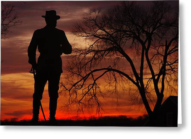 Yankee Division Photographs Greeting Cards - Sky Fire - Brigadier General John Buford - Commanding First Division Cavalry Corps Sunset Gettysburg Greeting Card by Michael Mazaika