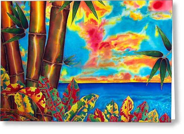 Landscapes Tapestries - Textiles Greeting Cards - Sky Fire Greeting Card by Daniel Jean-Baptiste