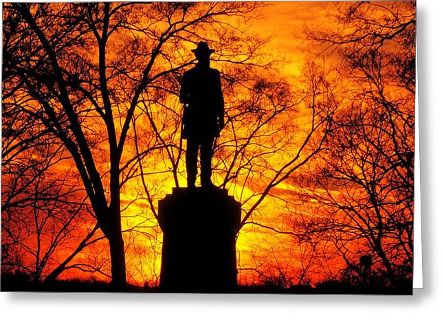 Rodman Avenue Greeting Cards - Sky Fire - Flames of Battle 50th Pennsylvania Volunteer Infantry-A1 Sunset Antietam Greeting Card by Michael Mazaika