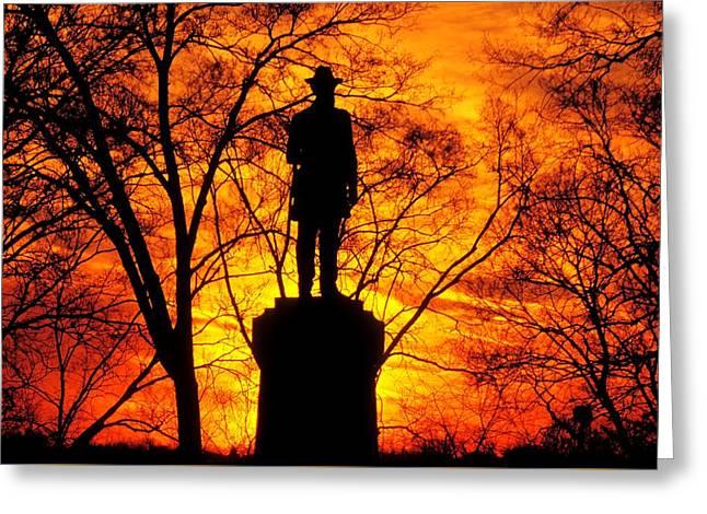 Sky Fire - Flames Of Battle 50th Pennsylvania Volunteer Infantry-a1 Sunset Antietam Greeting Card by Michael Mazaika