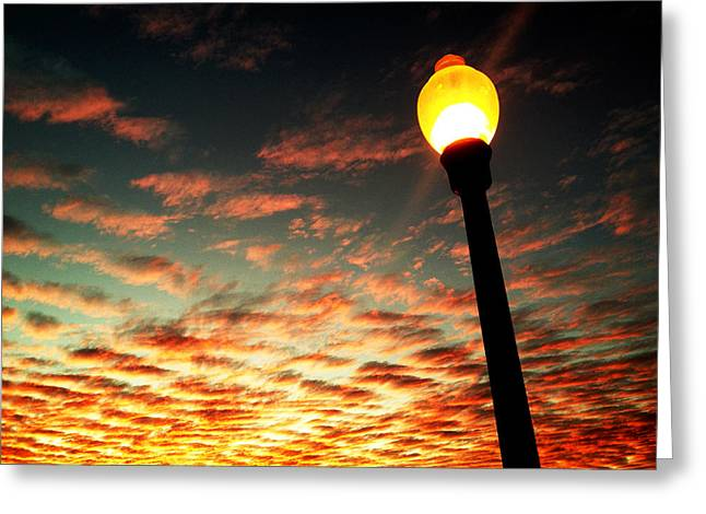 Night Lamp Greeting Cards - Sky Fire Greeting Card by Max