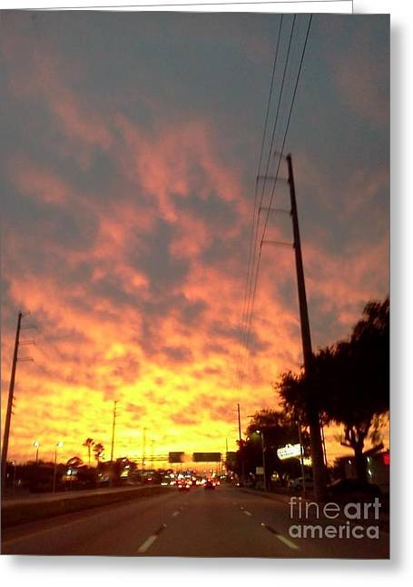 Paradise Road Greeting Cards - Sky Fire Greeting Card by Melissa Darnell Glowacki
