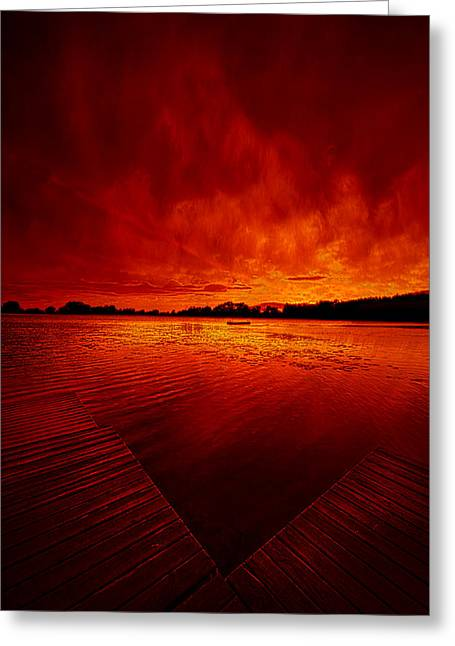 Geographic Greeting Cards - Sky Fire Greeting Card by Phil Koch