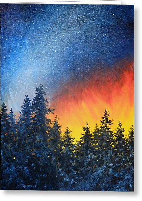 Night Greeting Cards - Sky Fire Greeting Card by Richard De Wolfe