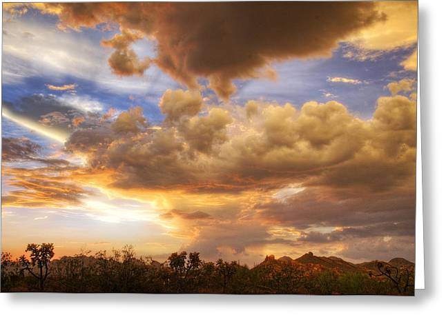 Monsoon Clouds Greeting Cards - Sky Fire  Greeting Card by Saija  Lehtonen