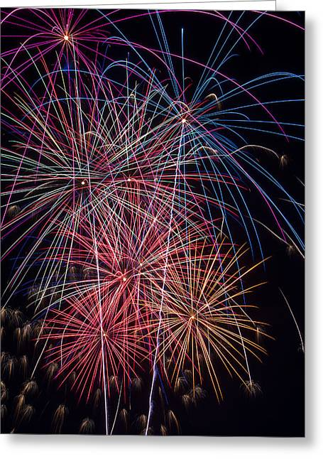 Pyrotechnics Greeting Cards - Sky Full Of Fireworks Greeting Card by Garry Gay