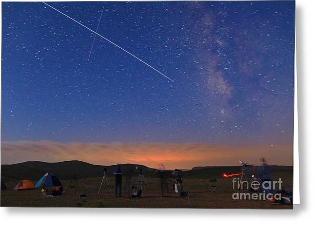 Amateur Photography Greeting Cards - Sky Gazers And Space Station Greeting Card by Babak Tafreshi