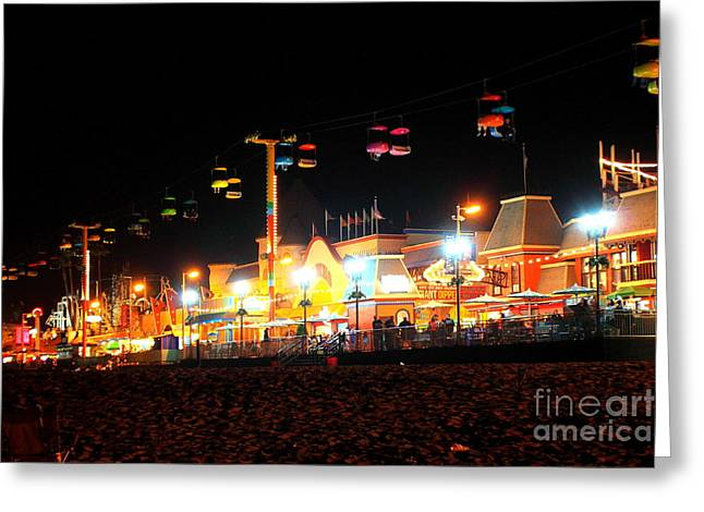 Beach At Night Greeting Cards - Sky Glider @ Night Greeting Card by Theresa Ramos-DuVon