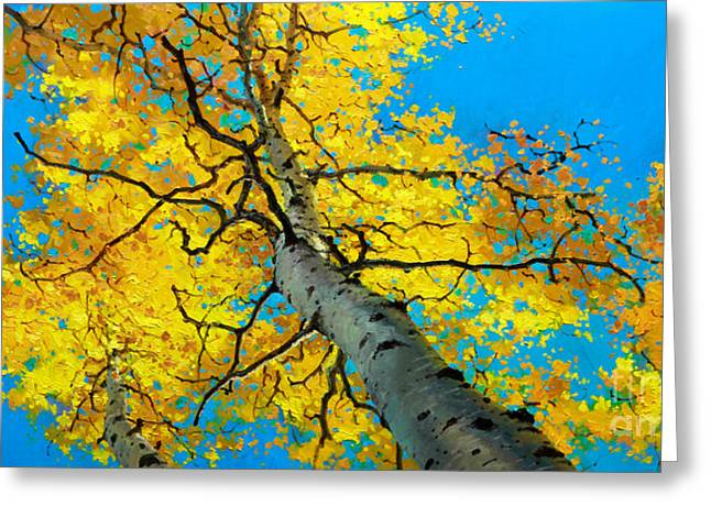 Fall Aspens Greeting Cards - Sky High 3 Greeting Card by Gary Kim