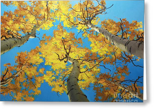 Fall Aspens Greeting Cards - Sky High 4 Greeting Card by Gary Kim