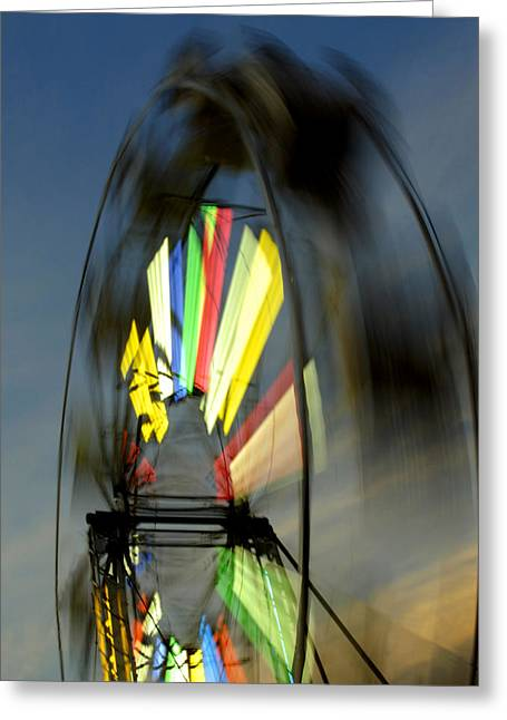 Wheels Tapestries - Textiles Greeting Cards - Sky High Ferris Wheel Greeting Card by Harry Enderle